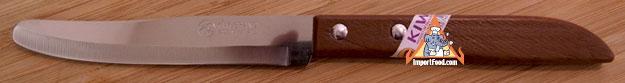 wood handle round point knife, kiwi