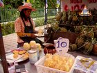 Fresh Pineapple Prepared on Sidewalk