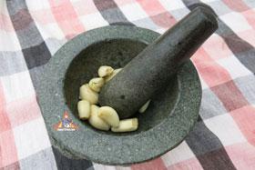 Thai Barbecue Chicken, 'Gai Yang' - Pound garlic