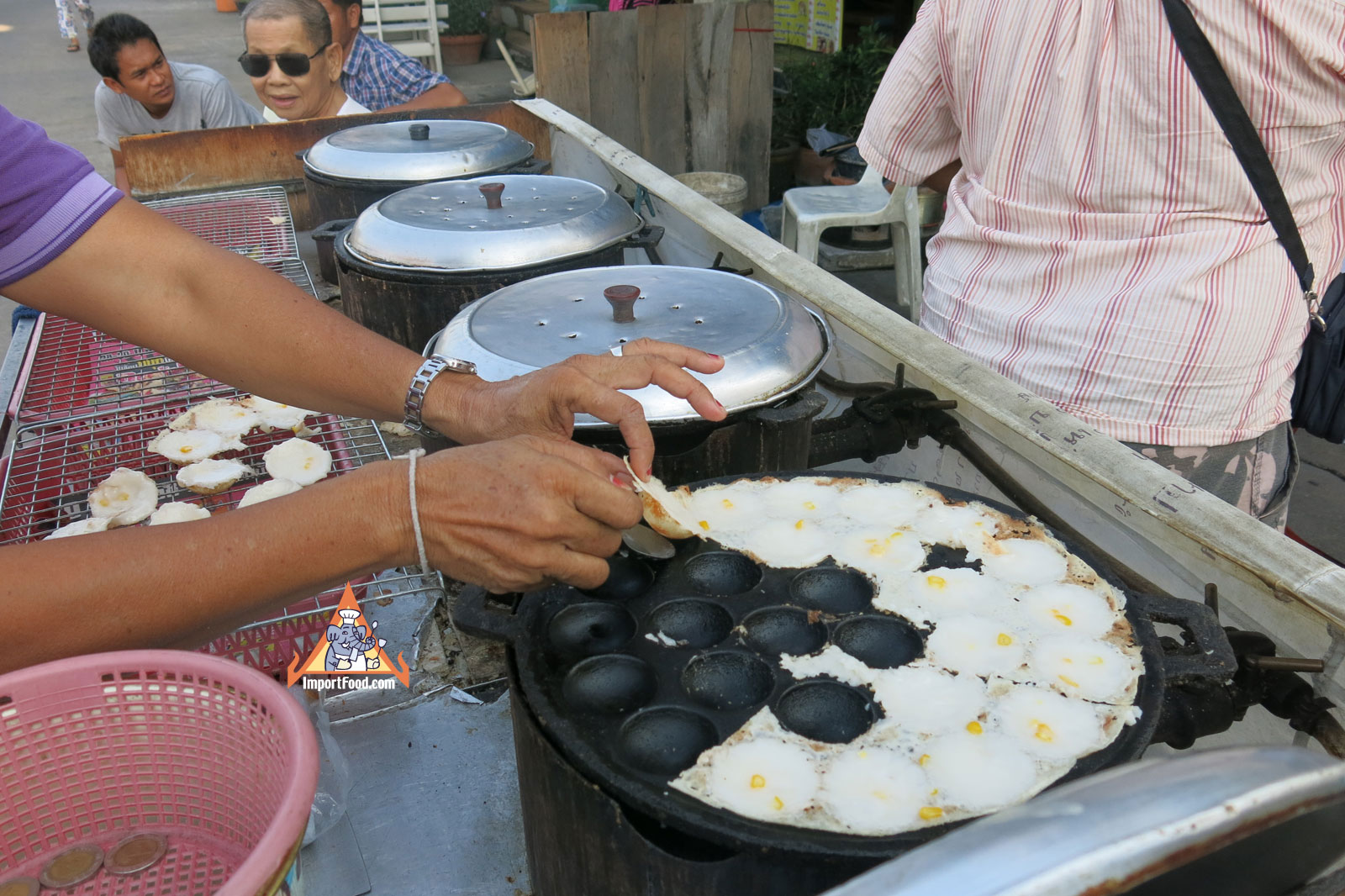 Thai Street Vendor for Thai Coconut Pudding, 'Khanom Krok'