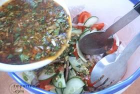 Thai Beef Salad, 'Yum Nuea' - Add the sauce & mix