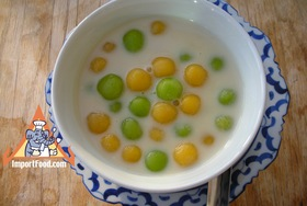 Thai Rice Balls in Warm Coconut Milk, 'Bua Loi' - Pumpkin Version
