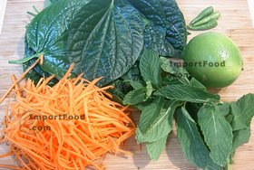 Betel Leaf Salad with Shredded Carrot - Ingredients Ready