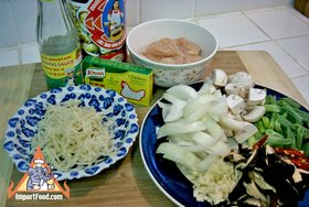 Ginger Chicken, 'Gai Pad Khing' - Ingredients ready