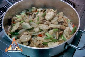 Ginger Chicken, 'Gai Pad Khing' - Cooking the ginger chicken