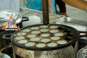 Thai Street Vendor for Thai Coconut Pudding, 'Khanom Krok' - Street Vendor Khanom Krok
