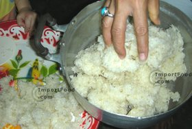 Thai Street Vendor for Thai Fermented Sweet Rice Dessert, 'Khao Mahk' - Step 6<br>Put rice into a bowl.