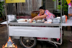 Thai Street Vendor for Pork Leg on Rice, 'Khao Kha Moo'
