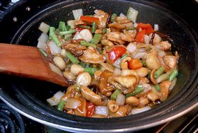 Thai Cashew Chicken, 'Gai Pad Med Mamuang Himaphan' - Stir-fry together