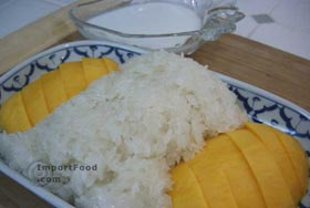 Thai Sweet Sticky Rice with Mango, 'Khao Neeo Mamuang' - Sweet Sticky Rice with Mango, 'Khao Neeo Mamuang'