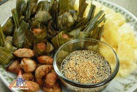 Chicken in Pandan Leaves, 'Gai Haw Bai Toey' - Chicken in Pandan Leaves, 'Gai Haw Bai Toey'
