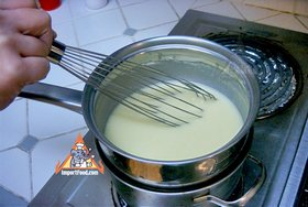 Thai Pandan Custard - Custard in a double-boiler