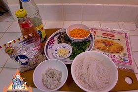 Thai Fried Spring Rolls, 'Poh Pia Tod' - Ingredients ready