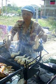 Thai Street Vendor for Thai Barbecue Chicken, 'Gai Yang'