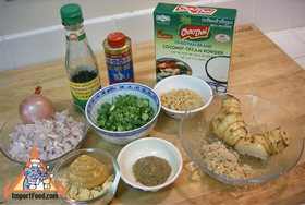 Steamed Thai Dumplings, 'Pun Sip Neung' - Ingredients ready