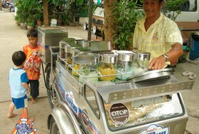 Thai Street Vendor for Thai Ice Cream with Basil Seeds & Chocolate-Ginger Ganache