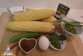 Spicy Thai Corn Cakes, 'Todman Khao Phot' - Ingredients ready