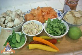 Tom Kha Salmon, Prepared by the Prime Minister of Thailand - Ingredients ready