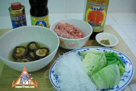 Bean Vermicelli Soup with Pork, 'Tom Jude Woonsen' - Ingredients assembled