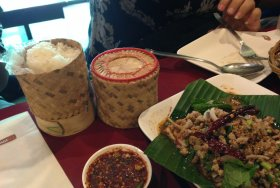 Larb gai & sticky rice w/ friends in Bangkok