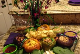 Miang Kham served in colored buns to represent Mardi Gras King Cake