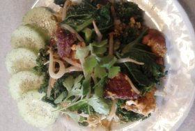 Kale and bean sprouts add flare to this!