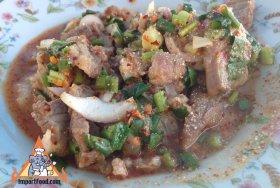 Larb Moo (pork) in Kanchanaburi Thailand