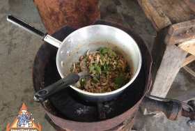 Thai street vendor larb moo
