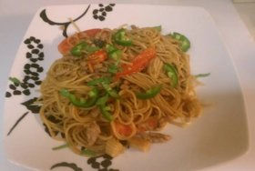 Used spaghetti noodles and added baby corn, minced pork