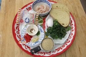 Thai-Style Toast, 'Khanom Bung Na Goong Roy Nga' - Ingredients ready