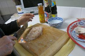 Thai-Style Toast, 'Khanom Bung Na Goong Roy Nga' - Chop your shrimps