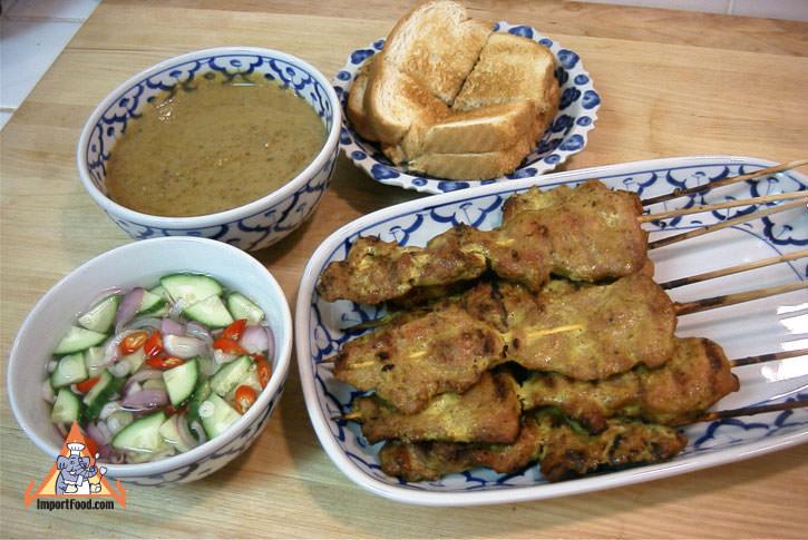 pork satay moo satay pork satay consists of strips of marinated pork ...