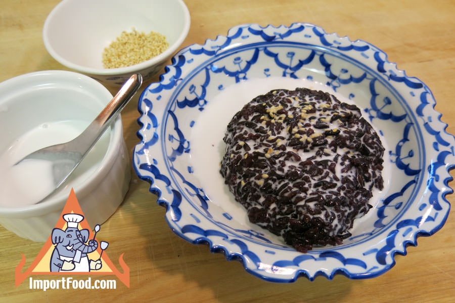 Thai Black Sticky Rice & Sweet Coconut Milk, 'Khao Neeo Dahm'