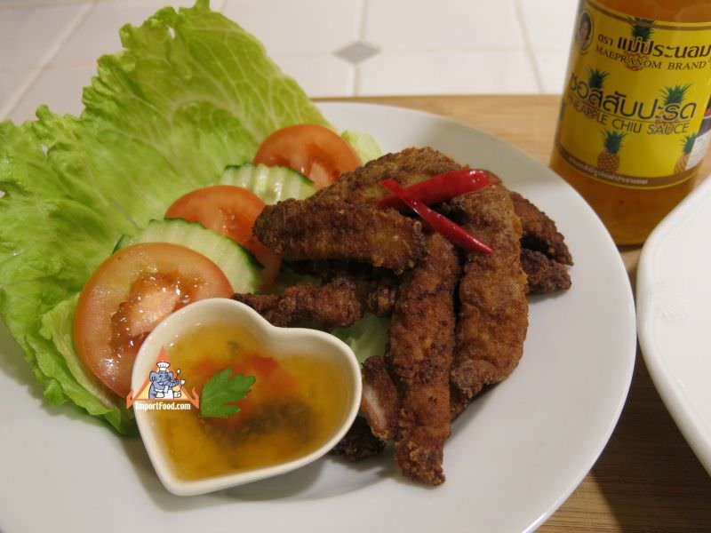 Thai Fried Pork Strips, Moo Kratiem Chup Paeng Tod