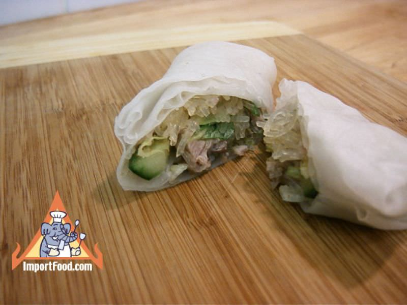 Larb Woonsen in Spring Roll Wrapper