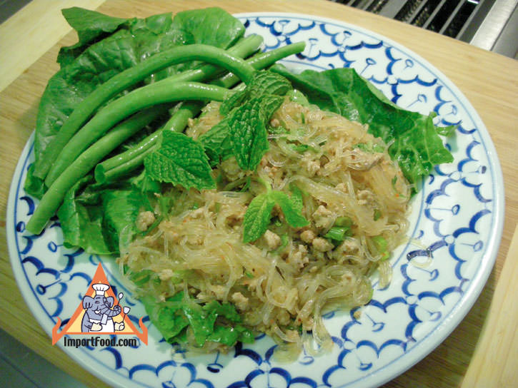 Larb with Glass Noodle & Minced Pork,