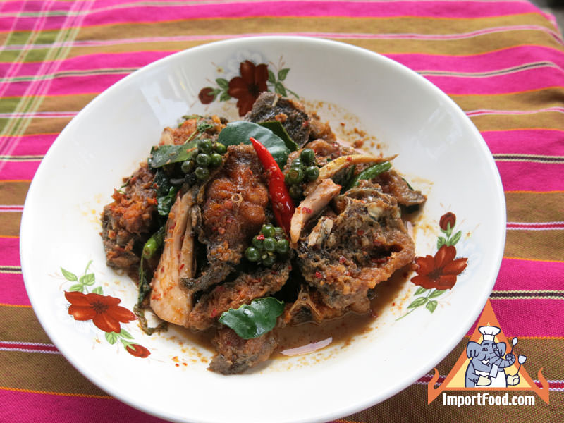 Stir-Fried Catfish in Red Curry, 'Pladuk Pad Ped'