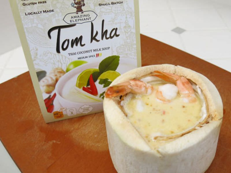 Tom Kha Soup Served in a Coconut