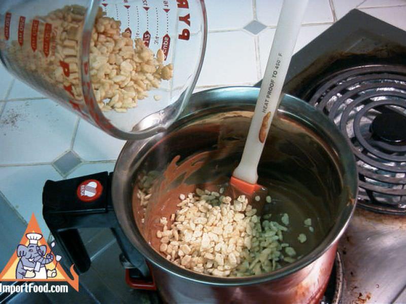 Thai Chocolate Rice Krispy Bars with Ovaltine & Chocolate Bavarian Cream