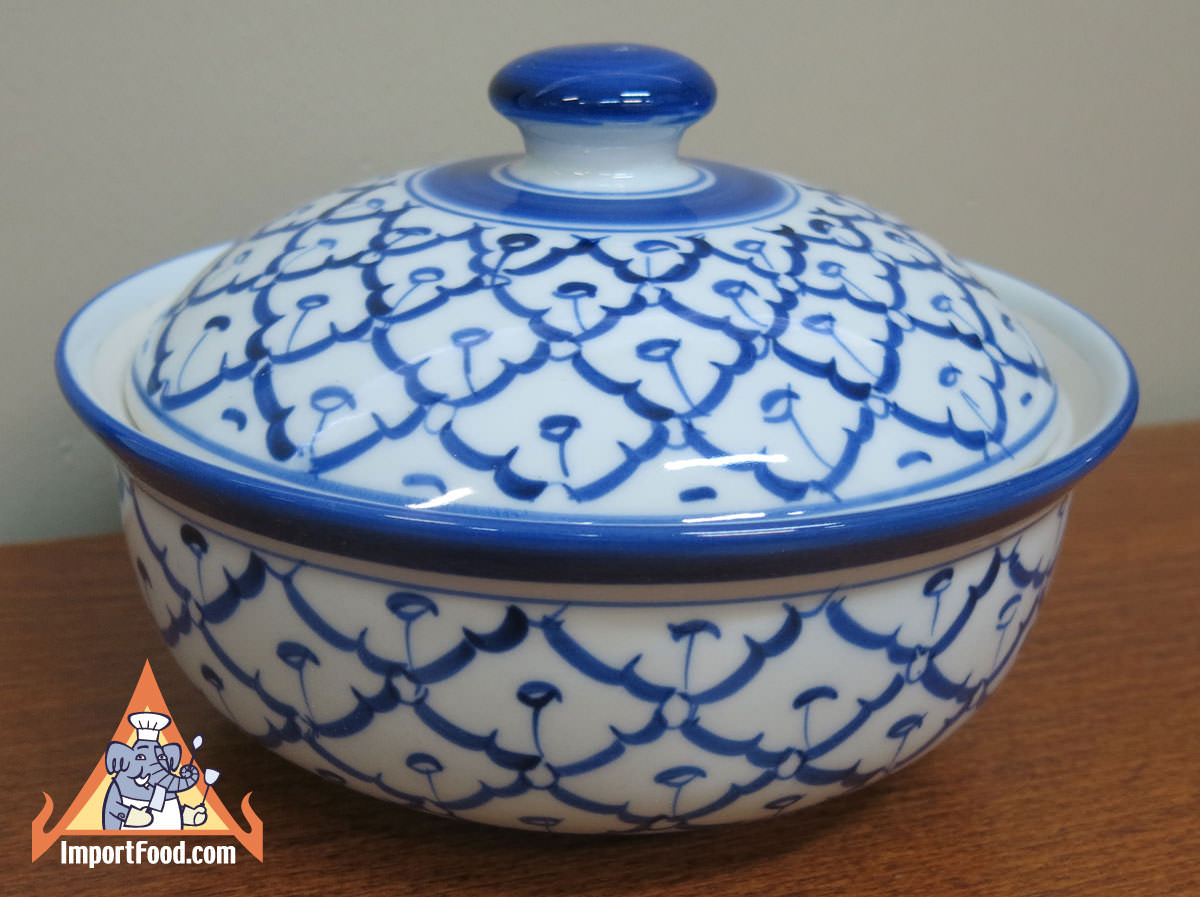 Very best Thai Ceramic, 5 in serving bowl w/lid :: ImportFood PM49