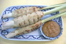 BBQ ground thai chicken on lemongrass spears with peanut sauce