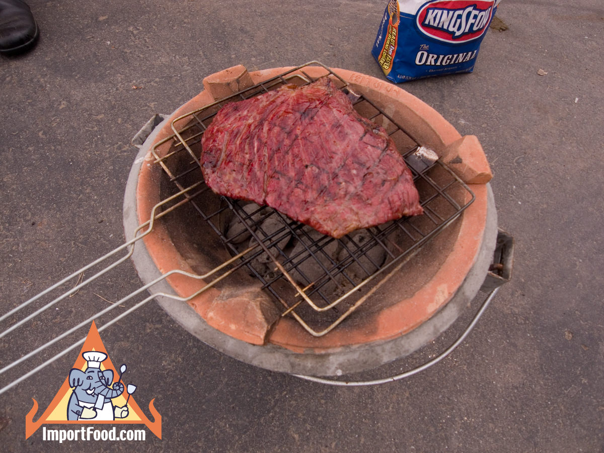 Flank steak on the tao charcoal burner