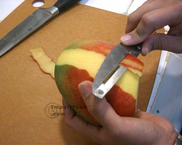 Use a peeler to remove the skin