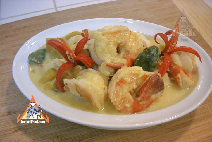 Pumpkin in coconut soup with shrimp phaktong tom kati
