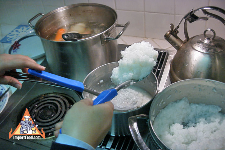 Add cooked rice to a pot