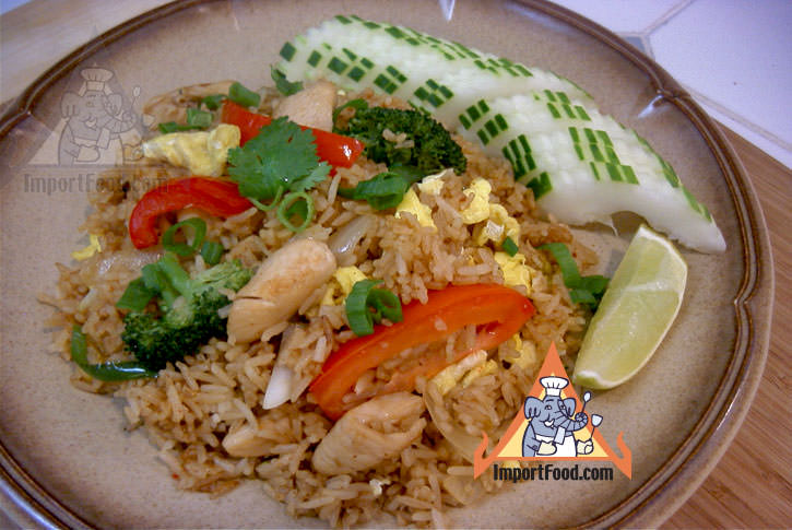 Fried rice with chicken khao pad namprik pao sai kai