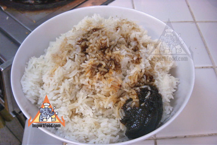 Rice with seasonings before frying