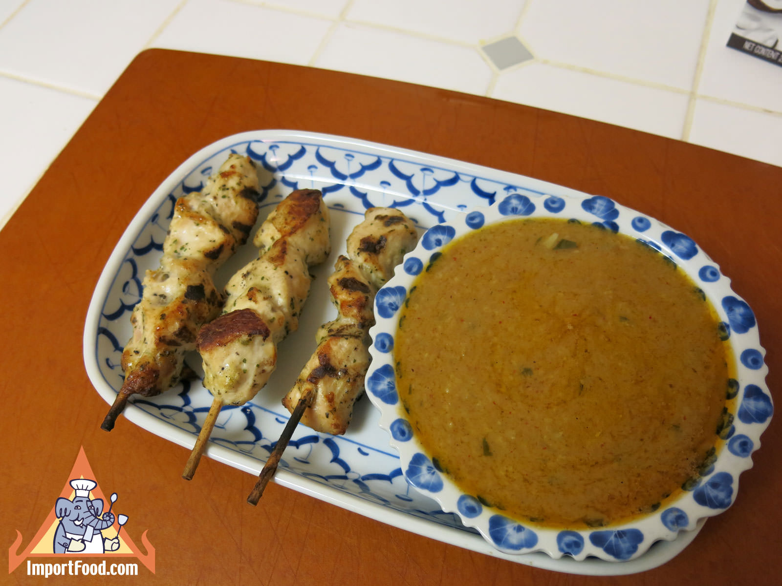 Lovely satay sauce with chicken skewers
