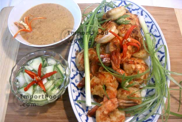 Prawn satay with cucumber salad