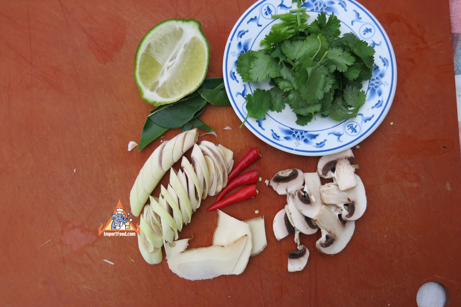 Basic fresh tom yum staples